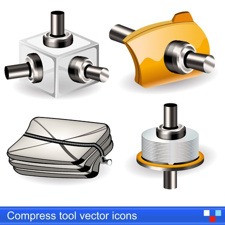 turn screw: Collection of different compress tool vector icons