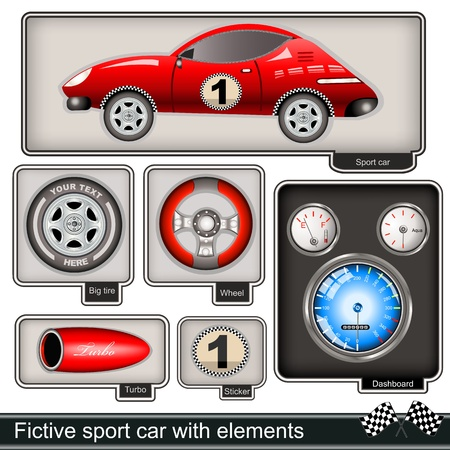 Collection of a fictive sport car with different  elements Vector