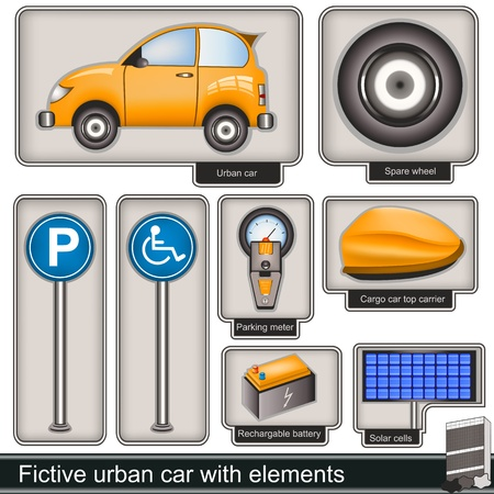 car battery: Collection of a fictive urban car with different  elements Illustration