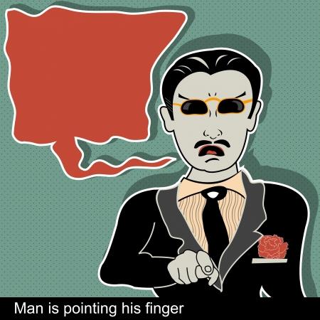 art balloon: Illustration of man is pointing finger with comic art balloon Illustration