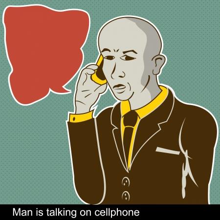 art balloon: Illustration of man is talking on a cellphone with comic art balloon