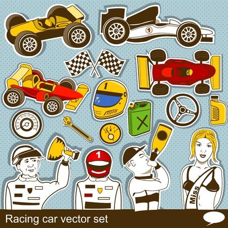 formula car: collection of different racing car vector set Illustration