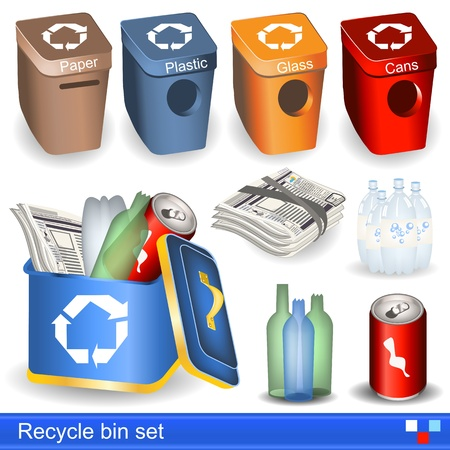 recycling bottles: Illustration of recycle bin icons set