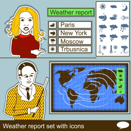 newscast: collection of weather report set with icons