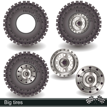 Illustration of realistic big tires with rims Vector