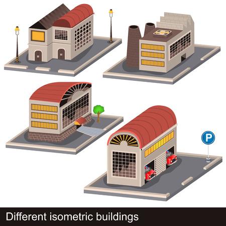 sidewalk cafe: isometric buildings Illustration