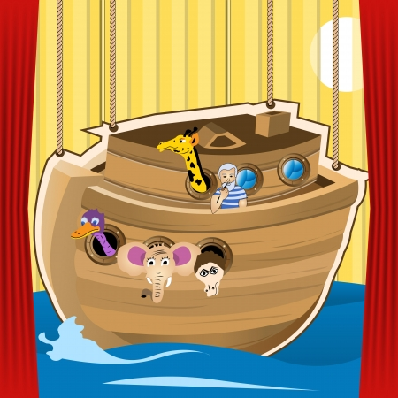 Noah ark cartoon illustration, designed as a stage for kid s play Vector