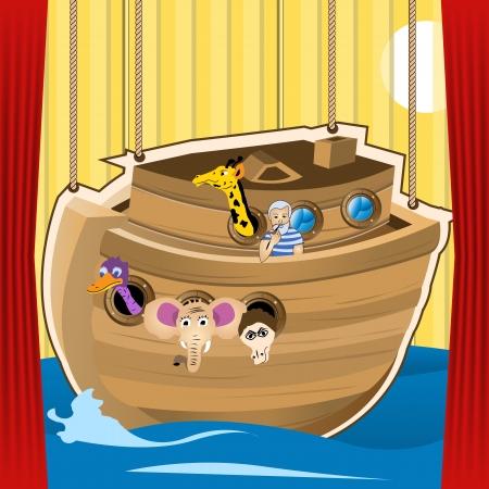 kid's: Noah ark cartoon illustration, designed as a stage for kid s play Illustration