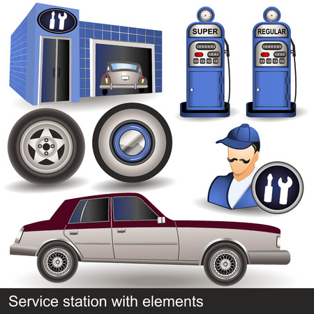 service station with elements Vector