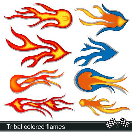red devil:  tribal colored flames design