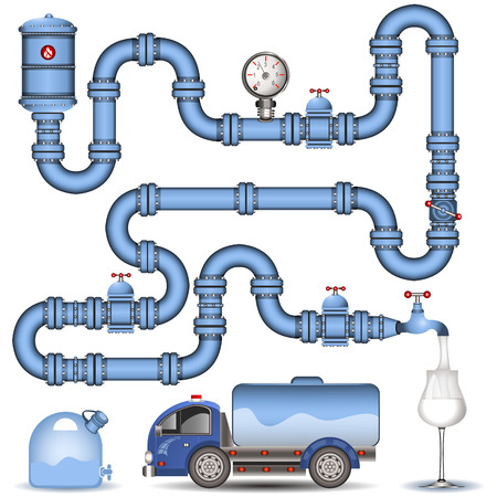 conduit: Illustration of a blue pipeline system,  background image Illustration