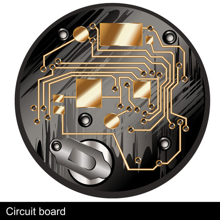 electronic components: Illustration of a circuit board of an old digital  watch, along with silver battery  Illustration