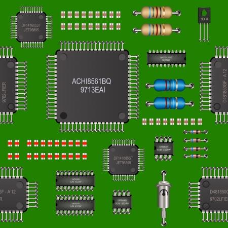 silicon: computer board seamless pattern
