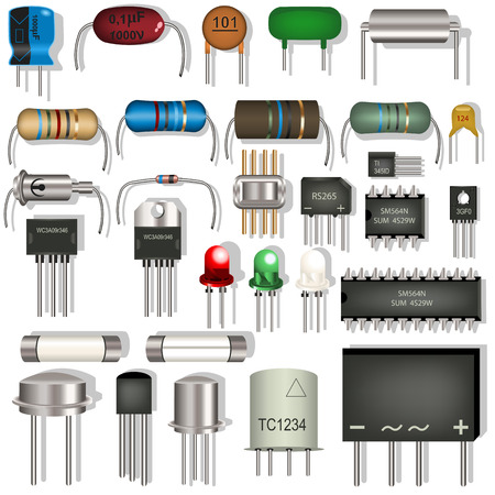 capacitor: electronic components Illustration