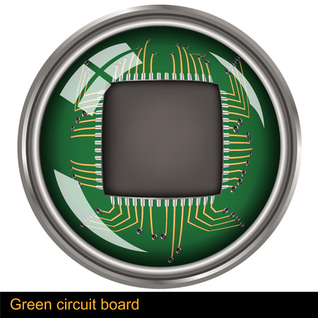 electronic components: Illustration of a green circuit board within a button Illustration