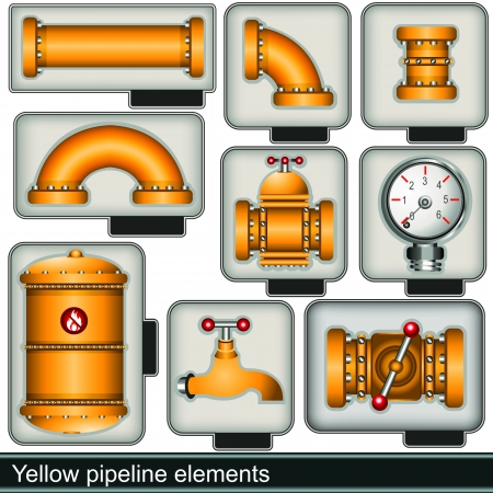 water pipes: yellow pipeline elements