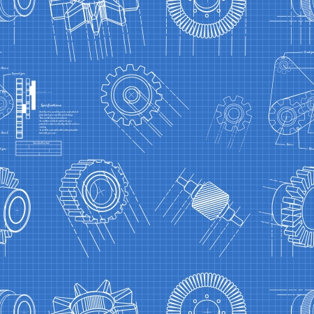 blueprint gears seamless pattern Vector