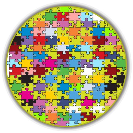 jumble: Illustration of a colorful round puzzle, made to look like a peace of a bigger mosaic