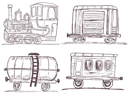 goods station: Sketch vector illustration of a train with three different wagons Illustration