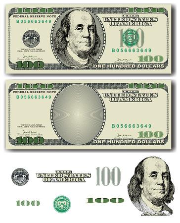簡単な取り外し可能な要素を持つベクトル 100 ドル紙幣  イラスト・ベクター素材