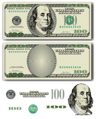 detail: Vector 100 Dollar bill with easy removable elements