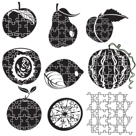 conclude: Illustration of different fruit silhouettes   made as puzzles