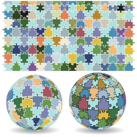 Vector image of 3D spherical puzzles in two different positions along with jigsaw puzzle pattern Vector
