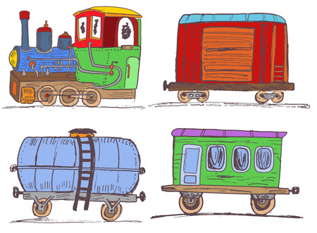 goods station: Colored vintage train with wagons Illustration