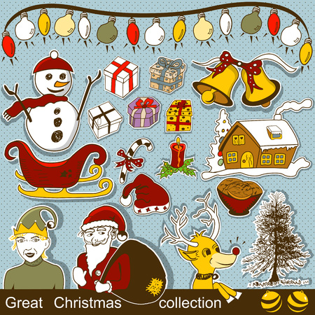 new year's cap: Great Christmas cartoon collection Illustration