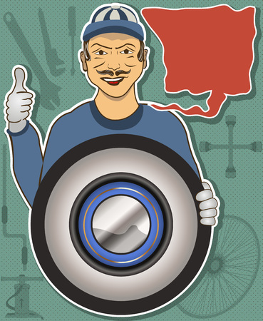 tire change: Illustration of a tire service mechanic with cartoon balloon