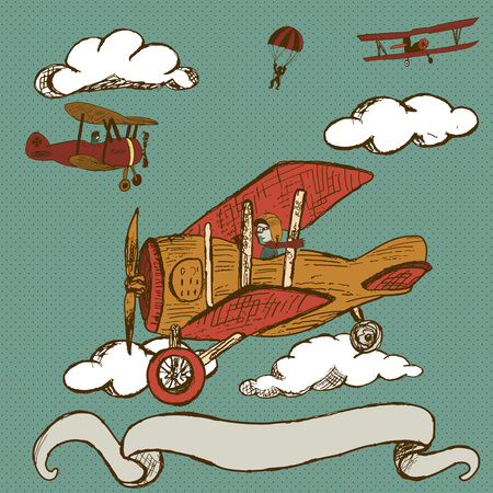 creative force: Hand drawn doodle illustration of vintage airplanes  with banner  Illustration