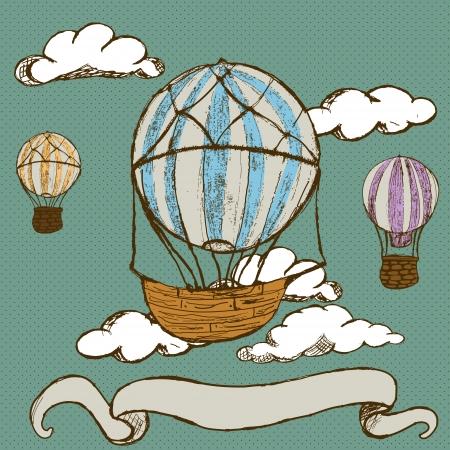 バナーとビンテージ熱気球の手描き落書きイラスト