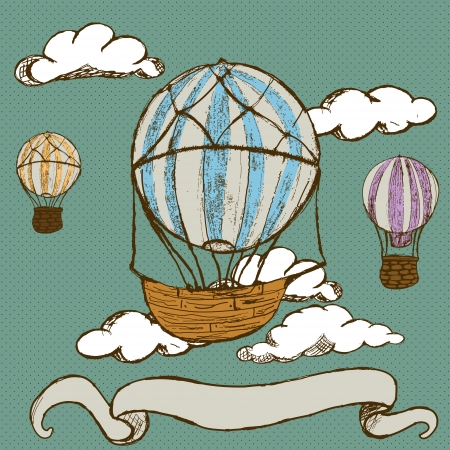 ship sky: Hand drawn doodle illustration of vintage hot air balloons with banner