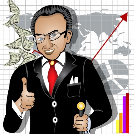 millionaire: Cartoon vector illustration of a smiling rich man indicates a success on the market Illustration