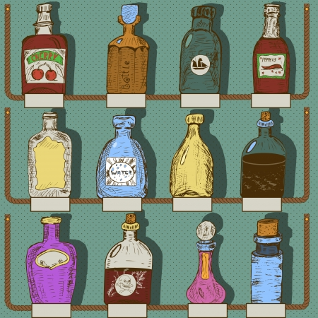 Vector illustration of different bottles with labels  Vector