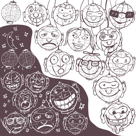 Funny vector illustration of different hand drawn emotional lanterns  Vector
