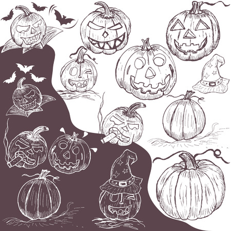 Vector illustration of different hand drawn pumpkins  Vector