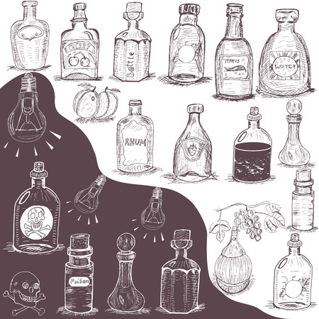 hand drawn bottles Vector