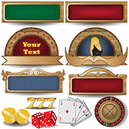 menu buttons: banner set with casino related icons Illustration