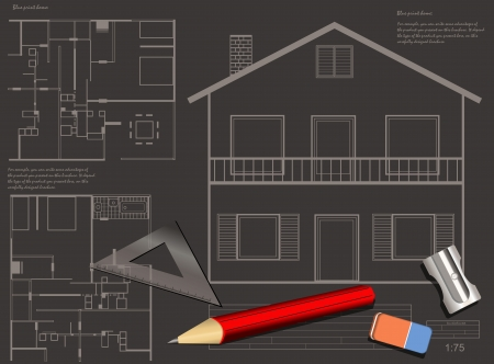 house construction blueprint vector background  Vector
