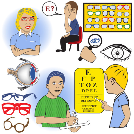 eye exams: ophthalmology color vector set Illustration