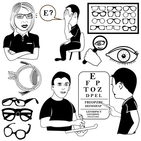 ophthalmology vector set illustrations Vector