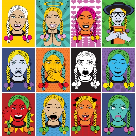 cry icon: Woman cartoon emotions in a pop art style