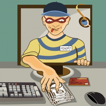 invade: Vector illustration of a man from a computer monitor stealing money   - computer thief serial