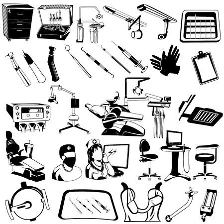 dentist drill: Vector illustration of different dental black  icons