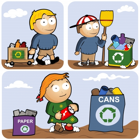 thrash: Recycling vector illustration set - kids are gathering different types of garbage