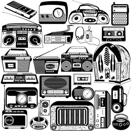 vintage radio: radio and cassette black icons