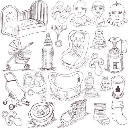 crib: hand drawn baby set