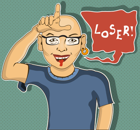 insulting: A man is showing  loser  hand gesture - cartoon illustration
