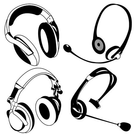 headphone black icons Vector